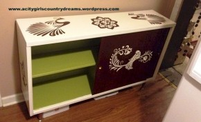Reversed Stenciled Credenza