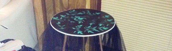 added some bling on a roll around the edge of the table